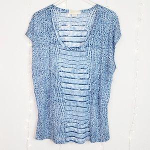 MICHAEL Michael Kors Blue Snake Scale Tee Shirt 2X